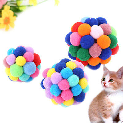 Pets Cat Toy Colorful Handmade Bells Bouncy Ball Built In Catnip Interactive ~GN
