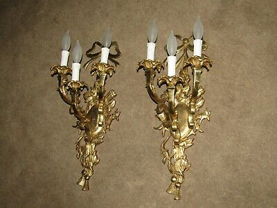 2  Brass Antique Sconces French Dore Rewired Sconces 30'S Rococo Repolish