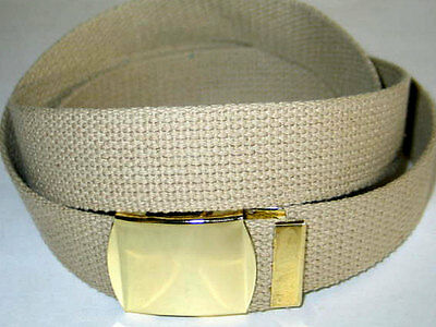 """Canvas Beige Military Style Army WEB Fabric Belt GOLD Metal Buckle 45"""" x 1 1/4"""""""