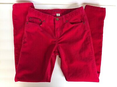 Lands' End Girls Pants Fuchsia Red Corduroy Size 12 Skinny Adjustable Waist