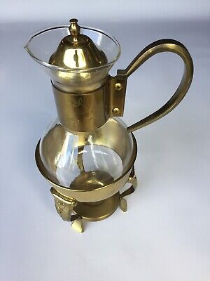 1960 Vintage Gold Plated Glass Coffee Carafe Tea Light Warmer -Cracked Stand/Lid
