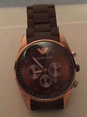 Emporio Armani AR-5905 Brown & Rose Gold Chronograph Watch