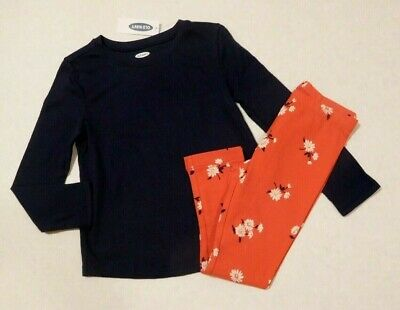 NWT 2pc Old Navy Blue Top & Floral Leggings sz 5t