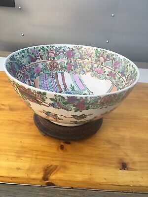 """Vintage Hand Painted Chinese Porcelain Bowl Painted/Macau 10"""" Wide 4 3/4"""" Tall"""