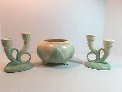 Vintage Red Wing Pottery Green and Cream Magnolia Candle Holders and Bowl