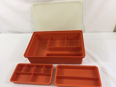VTG Tupperware Tuppercraft Sewing Craft Supply Storage Container With 2 Trays