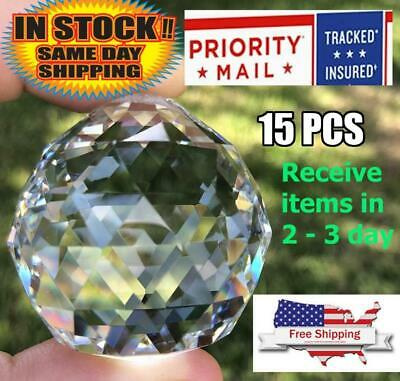 15pc 40mm 1.57 inch Crystal Ball Prism Chandelier Hanging Sphere Suncatcher Gift