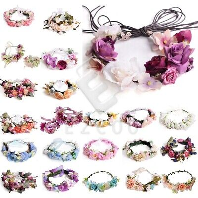 Boho Flower Crown Headband Floral Hair Garland Wreath Handmade Wedding Headpiece