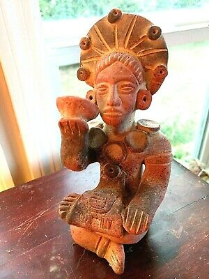Vintage Terracotta Clay Pottery Mayan Aztec Male Figure Mexico