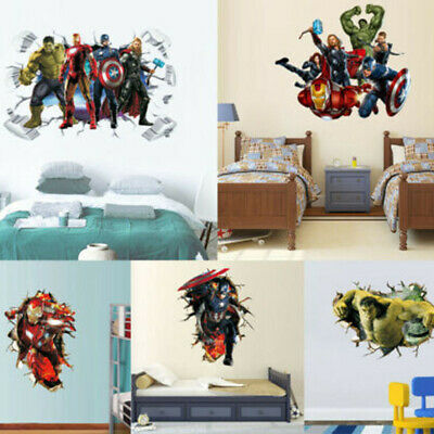 3D Superhero Wall Sticker Avenger Boys Kids Room Wall Decal Cartoon Mural Decor