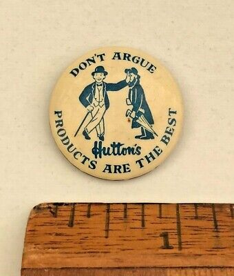 DON'T ARGUE! VINTAGE 1930s HUTTONS FOOTY FRANKS BRISBANE-MADE TIN PIN BADGE VGC!