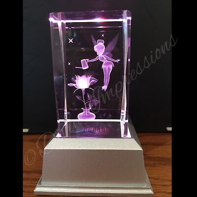 Tinkerbell Flower 3D Laser Crystal Block with LED Base Colour Change Night Light