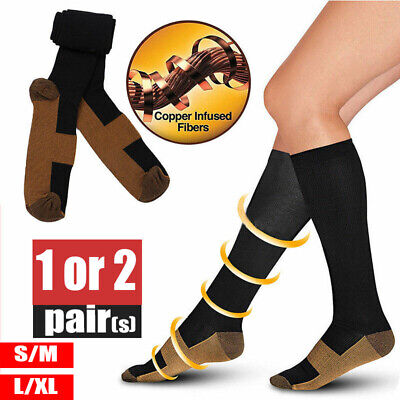 Miracle Copper Compression Socks 1/2Pairs Anti Fatigue Unisex Travel DVT Comfort