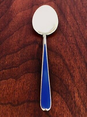 - N. M. Thune Norwegian 925S & Royal Blue Enamel Demitasse Spoon