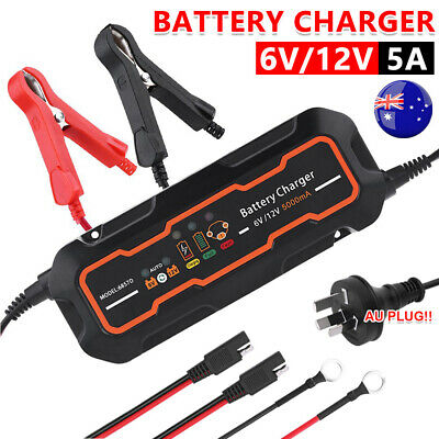 5A Smart Battery Charger 12V/6V SLA Motorbike Car Boat Deep Cycle Automatic AGM