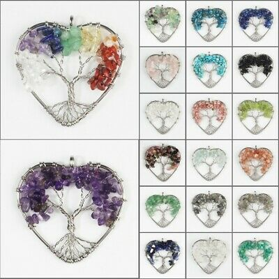 Natural Amethyst Fluorite Gemstones Silver Tree of Life Chip Beads Heart Pendant