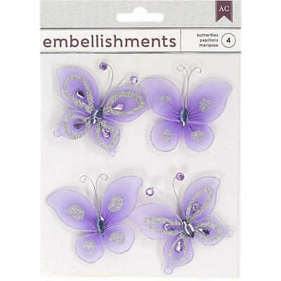 American Crafts Butterfly Embellishments With Wire - Purple Pack Of 4
