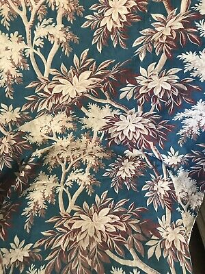 Antique Toile C1900s French Floral Indienne Cotton 80/95cms  panel timeworn