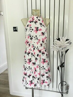 MARKS /& SPENCER Cream Scoop Neck Floral Sleeveless Dress RRP £45