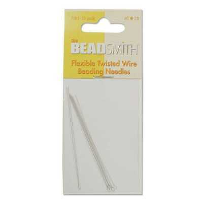 Flexible Twisted Wire Beading Needles Collapsible Eye - Fine x 10
