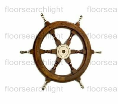 Antique Nautical Wooden Ship Steering Wheel Decor Brass Handle Wall Boat 24""