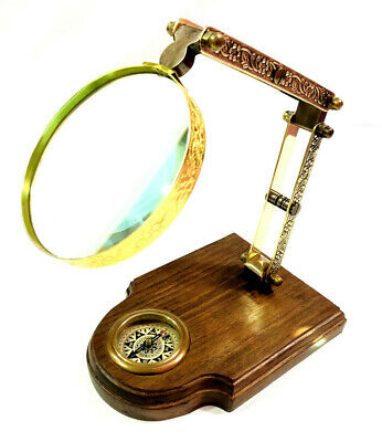Nautical Brass Adjustable Magnifying Glass on Wooden Base with Compass Desk Item