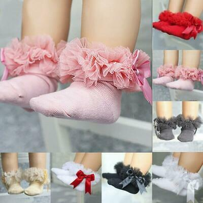 Baby Kids Girls Infant Princess Bowknot Sock Lace Ruffle Frilly Trim Ankle Socks