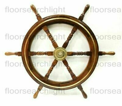 "24"" Wooden Ship Wheel Boat Steering Nautical Brass Ring Wall Decor Item"