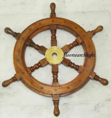 "18"" Nautical Antique Brass Wooden Ship Steering Wheel Vintage Wall Decor"