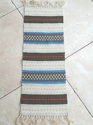 Vintage Swedish handwoven wool striped table runner with tassels
