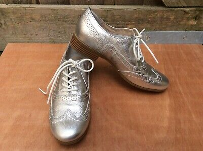 LADIES LEATHER COLLECTION LACE UP LOW HEEL BROGUE FORMAL OFFICE SHOES F80182