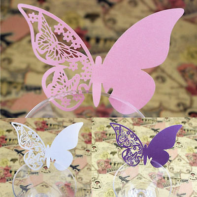 50X Table Mark Wine Glass Cards Favor Butterfly Name Place Party Wedding  J~GN