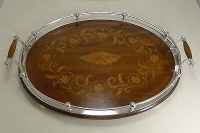Magnificent Antique English Inlaid Oak Serving Tray With Silver Plated Fittings