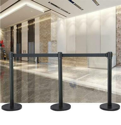 Retractable Belt Stanchion Queue Rope Barrier Ribbon Black Iron Pole Stand