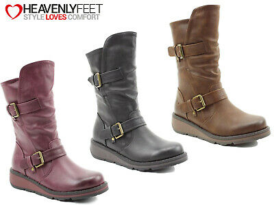 Ladies Casual Boots Heavenly Feet Mid Calf Wedge Memory Foam Buckle Zip Up Shoes