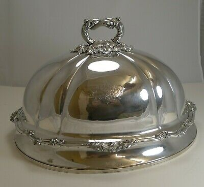 Grand Antique English Old Sheffield Plate Meat / Food Domed Cover c.1842