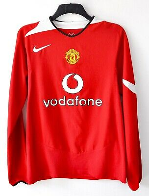 MANCHESTER UNITED Home Medium Long Sleeve #7 Shirt 2004 2006 Nike Jersey M vtg