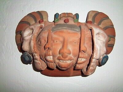 Wall Plaque Clay Pottery Rare Vintage 1975 Artist Signed 3 Indian Faces Mask