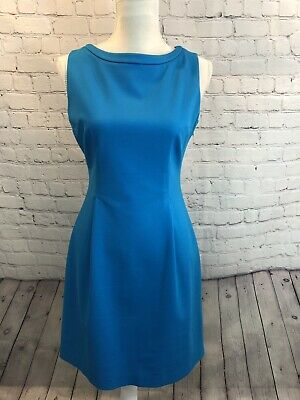 Elie Tahari Dress Sheath Holly Zip Back Turquoise Blue Sleeveless Rayon Size 6