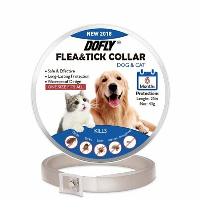DOFLY Flea Tick Collar For Dogs & Cats, Hypoallergenic, Waterproof, 6 Month NIB!