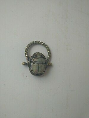 RARE ANTIQUE ANCIENT EGYPTIAN Bronze Ring Scarabs Beetle Good Luck 300 Bc