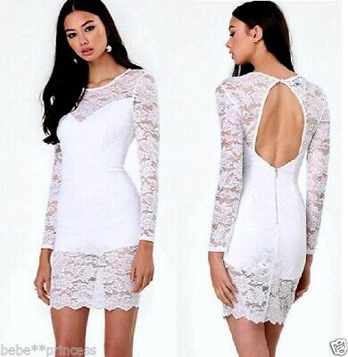 NEW bebe white long sleeve overlay lace cutout back sweetheart top dress S Small