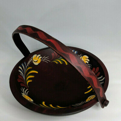Vintage Pennsylvania Dutch Design Hand Painted Woodcraftery Bowl With Handle