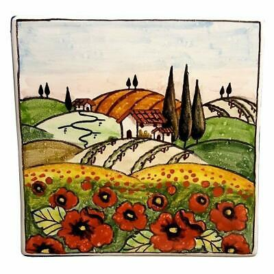 Italian Ceramic Art Pottery Hang Tiles Plaques Poppies Landscape Made in Italy