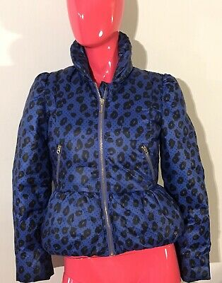 Juicy Couture Down Jacket Girls Winter Children Blue Animal Print Kids Size: 14