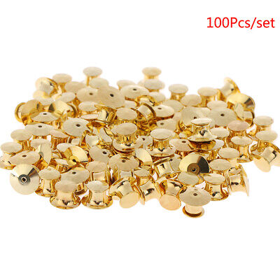 100Pcs/set Gold LOW PROFILE Locking Pin Backs Keepers for all Pin Post P xgSKUS