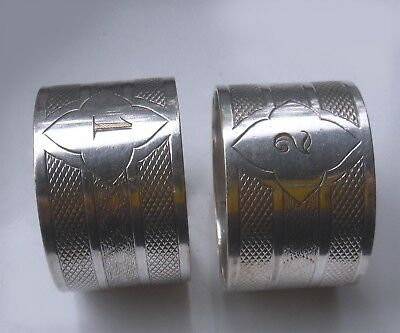 Pair Vintage Art Deco Machine Turned Silver Plated Napkin Rings (1&2) ^