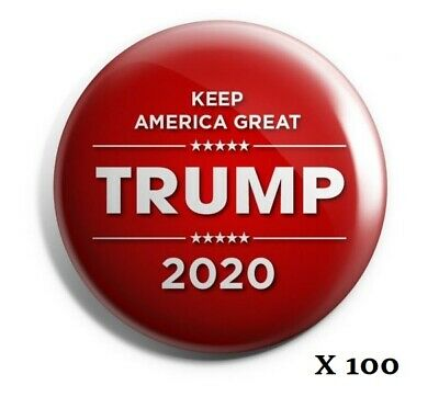 "Trump 2020 Buttons: ""Keep America Great"" (Red) - Bestseller Wholesale Lot of 100"