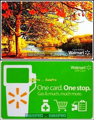 2x WALMART BEAUTIFUL FALL AUTUMN DAY 1 CARD STOP GAS COLLECTIBLE GIFT CARD LOT
