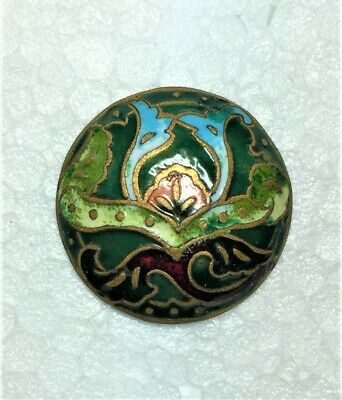 "Genuine Art Nouveau Period Champleve Vitreous Enamel Clothing Button 3/4"" Ex Con"